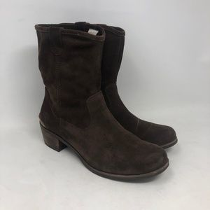 UGG Brown Suede Heeled Mid Calf Boots